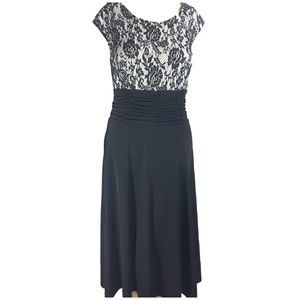 AA STUDIO BLACK & WHITE ROSE LACE jersey dress 8